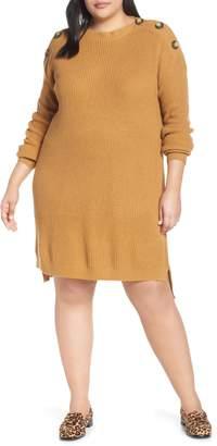 BP Button Shoulder Sweater Dress