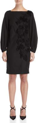 Les Copains Black Floral Applique Shift Dress