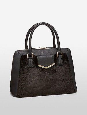 Calvin KleinCalvin Klein Womens Saffiano Leather Faux Fur Satchel Black/Black Fur