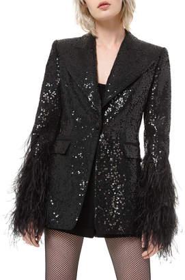 Michael Kors Sequin Tuxedo Blazer w/ Feather Cuffs