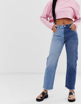 Asos Design DESIGN Florence authentic straight leg jean with wrap waist detail and two tone wash
