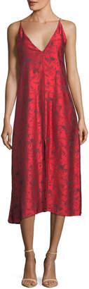 Forte Forte V-Neck Printed Viscose Midi Slip Dress