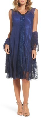 Women's Komarov Embellished A-Line Dress With Wrap $428 thestylecure.com