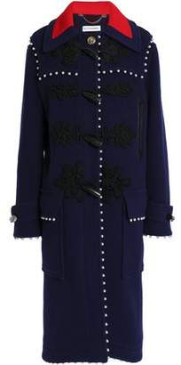 Altuzarra Faux Pearl And Leather-Trimmed Wool Coat