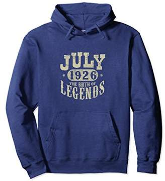 92 Years 92nd Birthday July 1926 Birth of Legend Hoodies