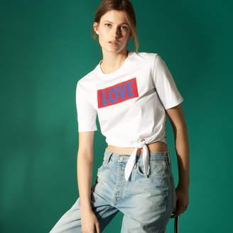 Sandro Cotton slogan T-shirt with tie fastening