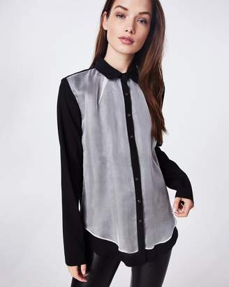 Nicole Miller Organza And Charmeuse Blend Boyfriend Blouse