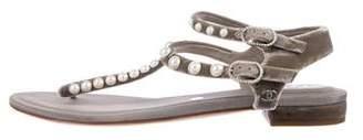 Chanel 2017 Velvet Pearl Sandals