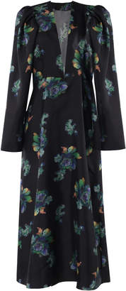 Lake Studio Floral-Print Silk Midi Dress