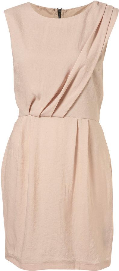 Nude Sleeveless Tuck Detail Dress