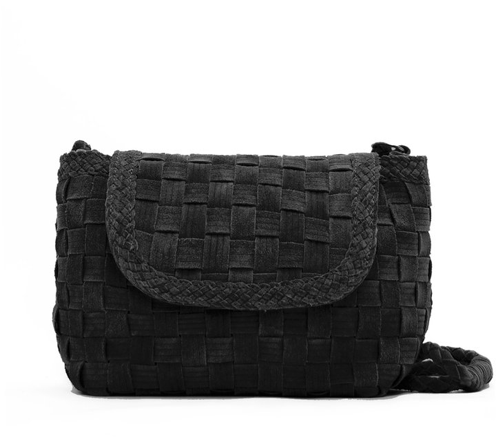 Woven leather messenger handbag