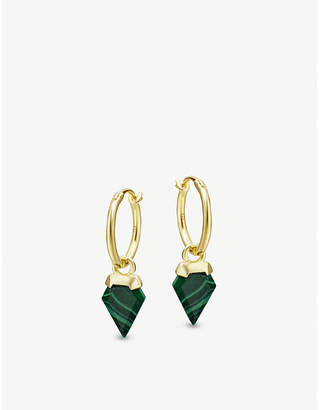 Missoma Ltd 18ct gold vermeil and malachite hoop earrings