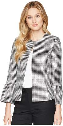 Tahari ASL Gingham Textured Jacket with Tulip Sleeve Women's Coat
