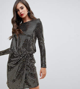 Flounce London Tall wrap front mini dress with statement shoulder in black with gold sequin
