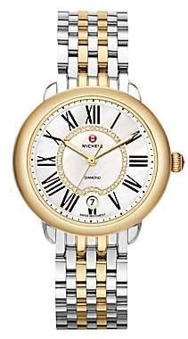 Michele Women's Serein 16 Diamond, Mother-Of-Pearl, 18K Goldplated & Stainless Steel Bracelet Watch
