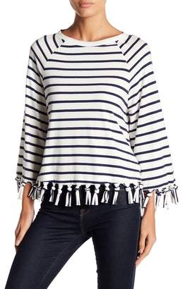 ENGLISH FACTORY Stripe Long Sleeve Top With Fringe Detail