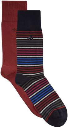 Calvin Klein Stripe and Solid Socks (Pack of 2)