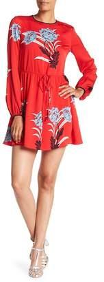 Diane von Furstenberg Long Sleeve Crewneck Mini Dress