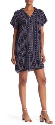 Bobeau Short Sleeve Print Shirt Dress