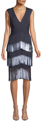 Herve Leger V-Neck Sleeveless Fringe Cocktail Dress with Dipped Foil Tips