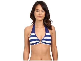 Lauren Ralph Lauren Balboa Stripe Ring Front Halter Top w/ Removable Cup Women's Swimwear