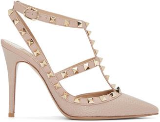 Valentino Taupe Rockstud Cage Heels $1,075 thestylecure.com