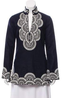 Tory Burch Embellished Linen Top