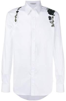 Alexander McQueen embroidered rose harness shirt