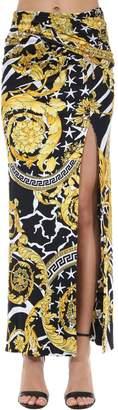 Versace Printed Stretch Jersey Midi Skirt W/pins