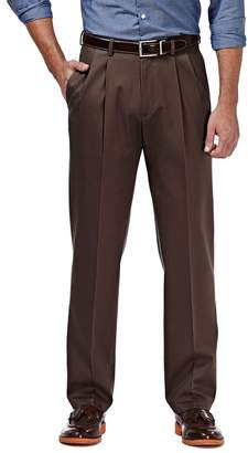 Haggar Men's Premium No Iron Khaki Stretch Classic-Fit Pleated Pants