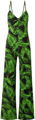 Norma Kamali Printed Stretch-jersey Jumpsuit - Green