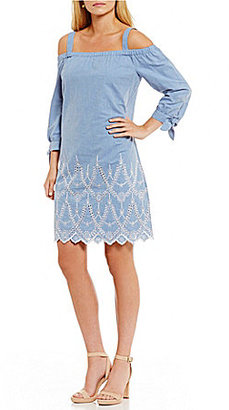 Jessica Howard Off-the-Shoulder Embroidered Chambray Dress $99 thestylecure.com
