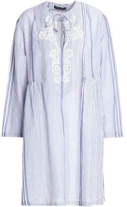 Antik Batik Embroidered Striped Cotton-Gauze Mini Dress