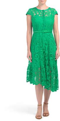 Asymmetrical Hem Lace Midi Dress