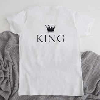My 1st Years Monogrammed White 'King' Short Sleeved T-shirt