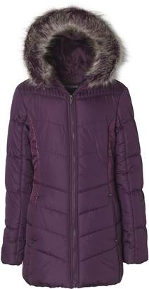 Sportoli Junior Women's Winter Plush Lined Midlength Puffer Coat with Fur Trimmed Hood