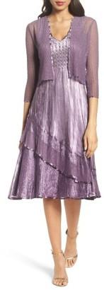 Petite Women's Komarov Charmeuse A-Line Dress & Chiffon Jacket $438 thestylecure.com