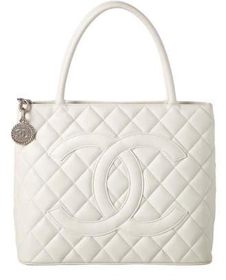 Chanel White Caviar Leather Medallion Tote
