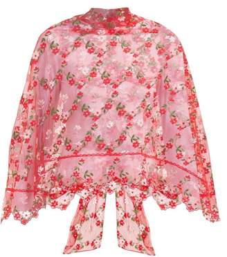 Simone Rocha Floral Embroidered Tulle Cape - Womens - Red Multi