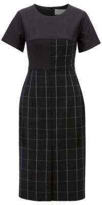 BOSS Shift dress in checked fabric with solid-colour sleeves