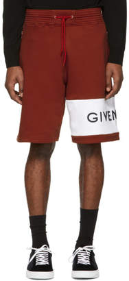 Givenchy Red and White Logo Shorts