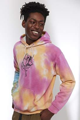 Urban Outfitters Embroidered Sad Rose Tie-Dye Hoodie Sweatshirt