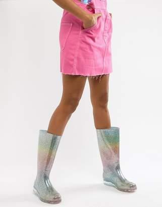 Asos Design DESIGN Gransta rainbow glitter wellies