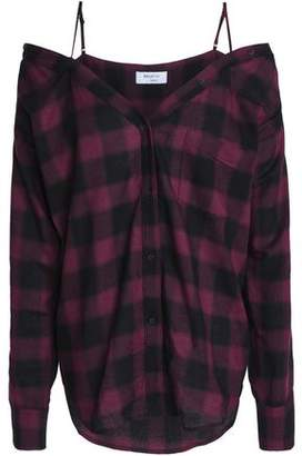 Bailey 44 Cold-Shoulder Checked Flannel Top