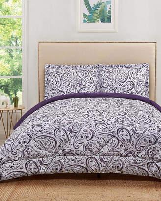Truly Soft Watercolor Paisley Eggplant Comforter Set