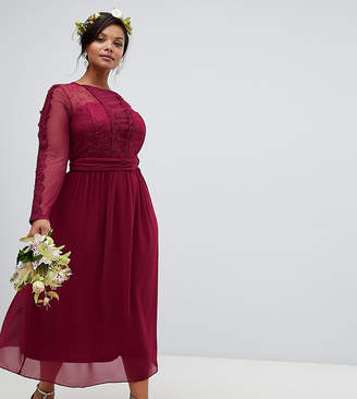 TFNC Plus lace detail bridesmaid midi dress in burgundy