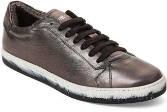 Just Cavalli Pewter Leather Low-Top Sneakers