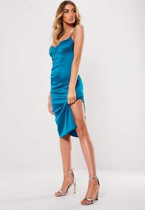 Missguided Teal Satin Bust Cup Midi Dress