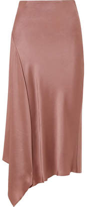 Brunello Cucinelli Asymmetric Satin Midi Skirt - Antique rose