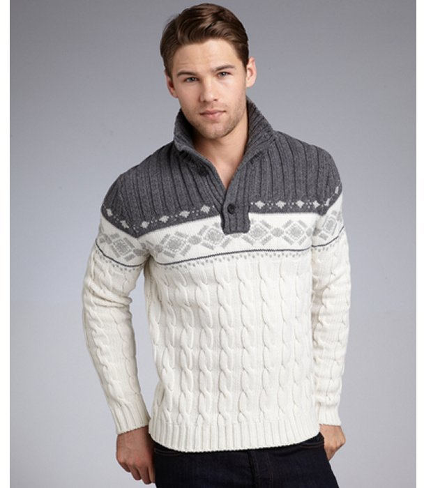 Zegna Sport white and grey fair isle wool cable knit sweater